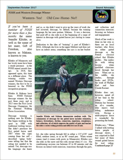 September/October 2017 Sound Advocate story: Western Yes, Old Cow Horse No!