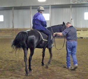 Jennifer Klitzke riding at a Larry Whitesell gaited horsemanship clinic